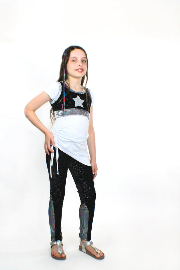 Ori, Glitter Velvet Stretch Pants, With Sleek Design and Side Sequins