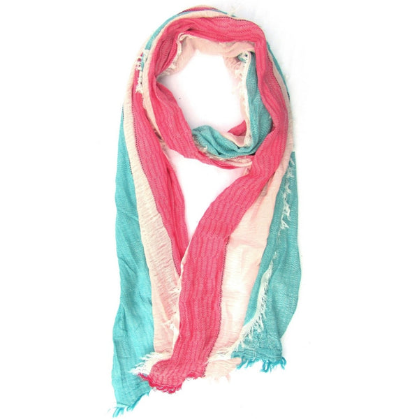 Turkish Cotton Blend Fringed Hobo Scarf Pink/White/Blue