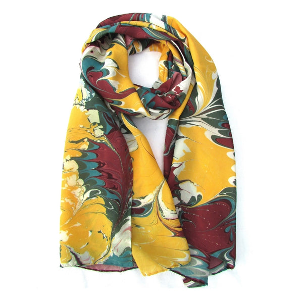 Watermarbling Hand Dyed Palm Silk Scarf