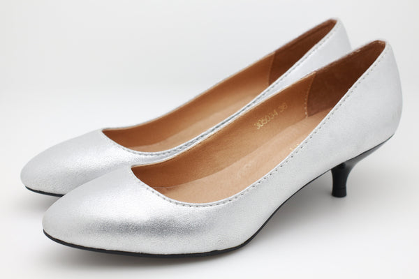 Metallic Leather Dress Pumps (Silver)