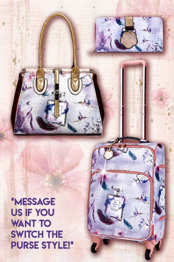 Arosa Fragrance 3PC Set | Vintage Travel Carry on With Spinner Wheels
