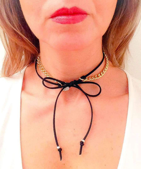 Choker With Deerskin Leather and Silver or Gold Chain. Black Choker, Leather Choker, Choker Necklace, Coachella Jewelry
