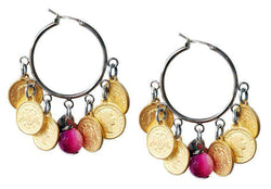 Hoop Earrings With Gold Coins and Pink Agate Stones.