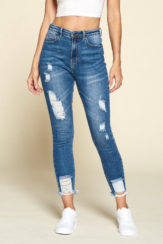 Raw Ripped Medium Wash Jeans