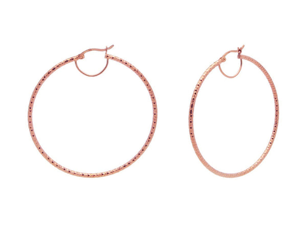 Rose Diamante Cut Hoops (2.13Inches)