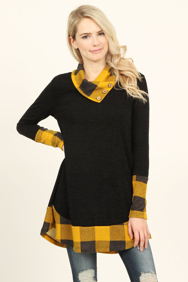 Plaid Accented Sweater Tunic