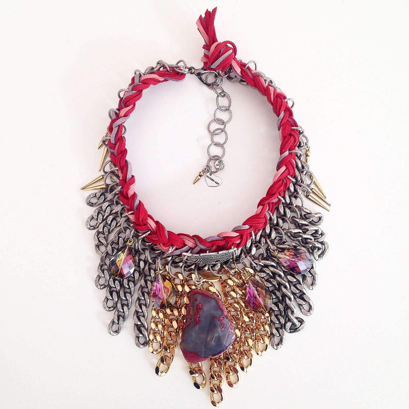 Red Passion Boho Chic Statement Necklace