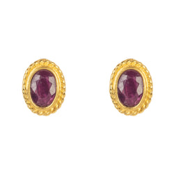 Gold Gemstone Birthstone Stud Earring  July Ruby