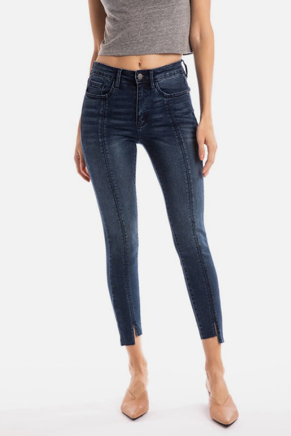 Center Seam Hem Cuts Jeans