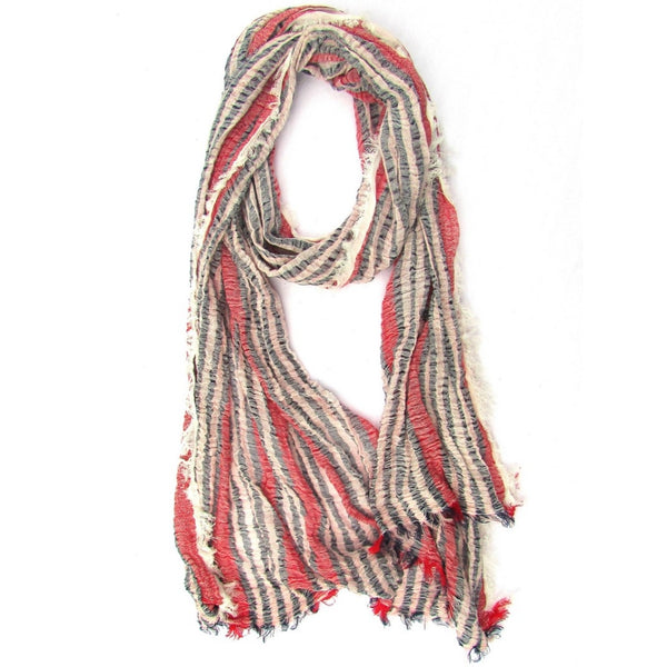 Turkish Cotton Blend Fringed Hobo Scarf Navy Blue/White/Red