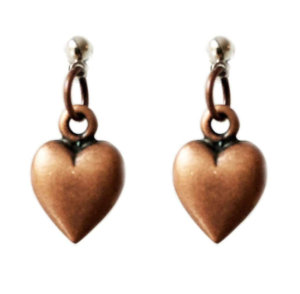 Heart Stud Earrings in Brass. Perfect for Valentines Day, Valentines Day Gift, Gift for Her.
