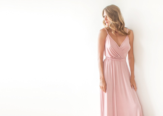 Pink Wrap Maxi Dress,spaghetti Stripes Dress With High Slit SALE 1060