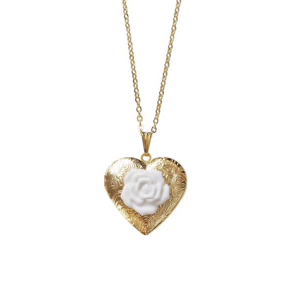 Classic Heart Locket With Porcelain Rose Pendant Necklace