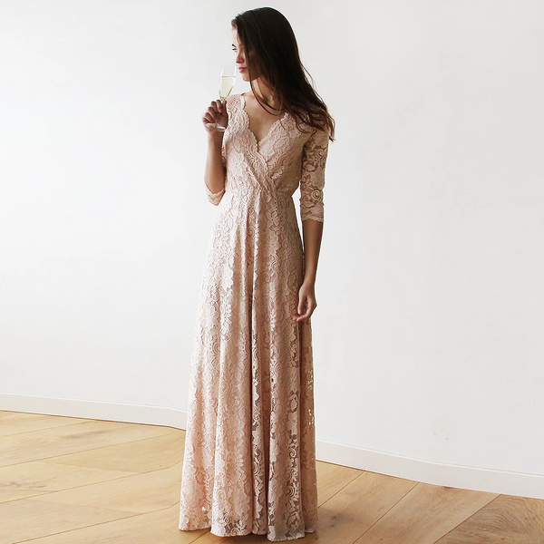 Boho Lace Dress, Pink Blush Wrap Dress 1124