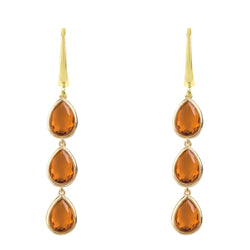 Sorrento Triple Drop Earring Gold Citrine
