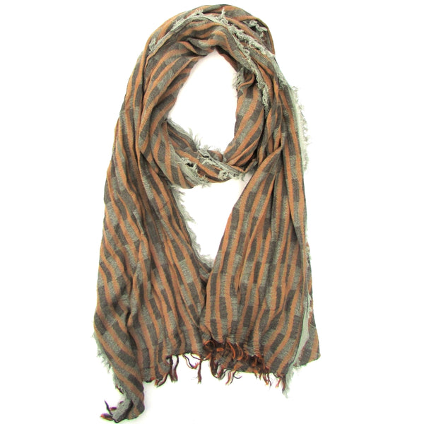 Turkish Cotton Blend Fringed Hobo Scarf Brown/Grey