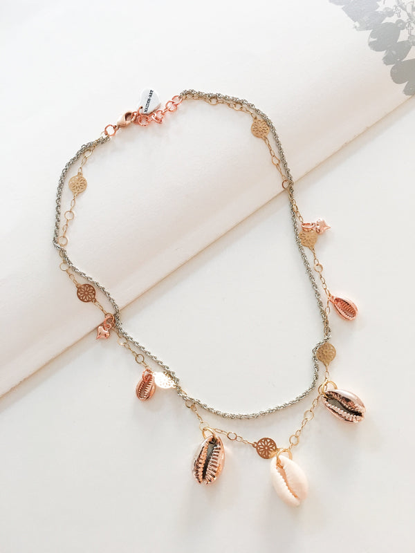 Seashells and 18kt Gold Plated Choker Necklace