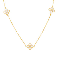 Long Chain Flower Clover White Quartz Necklace Gold