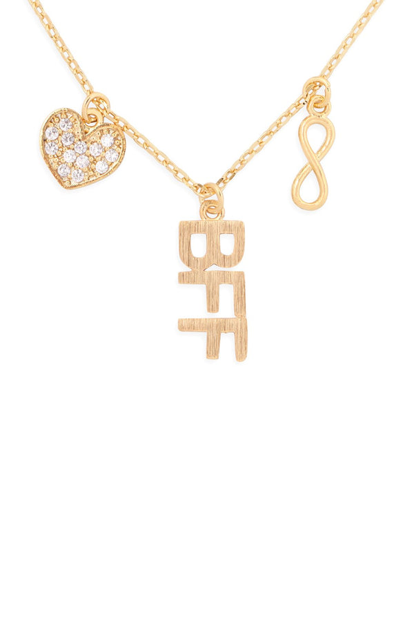 Hdnfn379 - Infinity Heart Bff Cubic Zirconia Pendant Necklace
