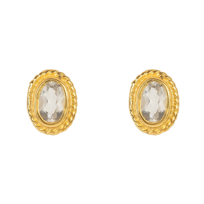 Gold Gemstone Birthstone Stud Earring  April Quartz