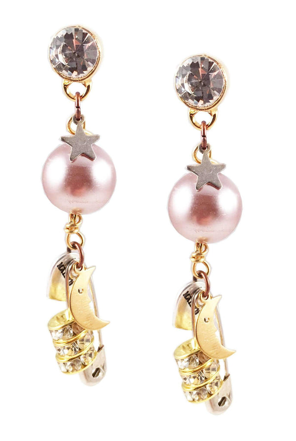 18kt Gold Plated and Crystals Dangle and Drop Earrings With Pearls and Safety Pins. Perfect for Parties, Spring, Summer