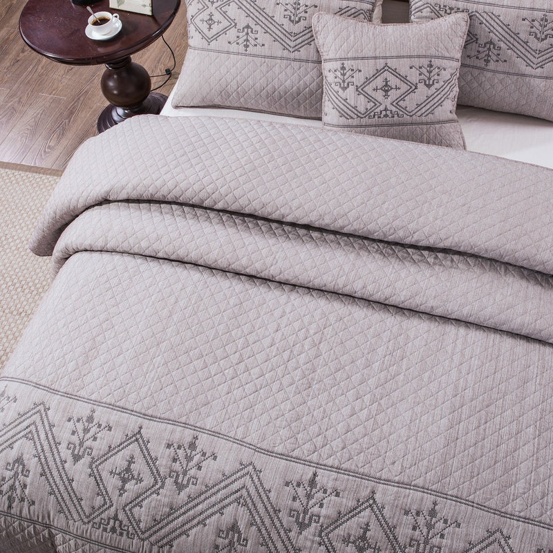DaDa Bedding Elegant Fair Isle Purple Grey Yarn Dyed Quilted Coverlet Bedspread Set (JHW866)