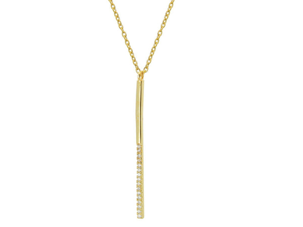 Gold Hanging CZ Bar Necklace, 16""