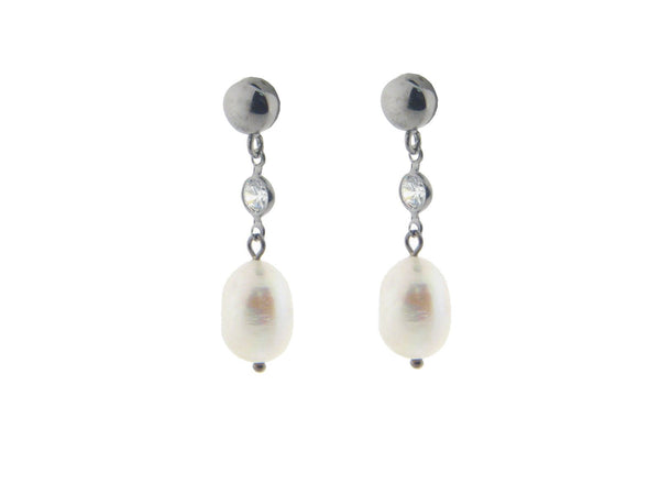 Gunmetal Pearl & Cz Earrings