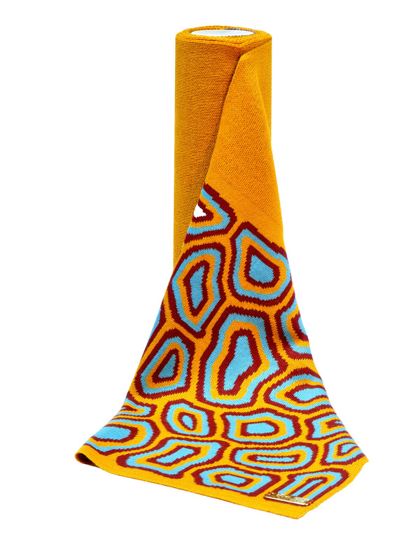 TATI BODUCH Merino Scarf,  AGATE Collection,  Mustard-Turquoise