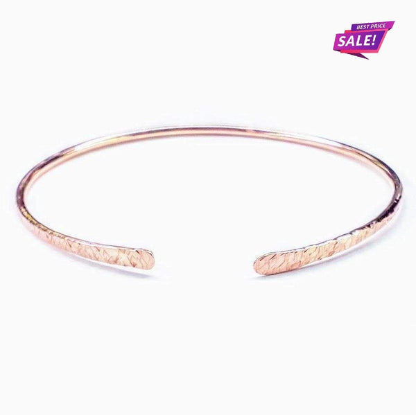 Bare Copper Hammer Textured Bangle