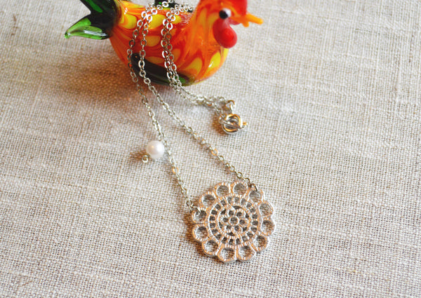 White Gold  Lace Necklace