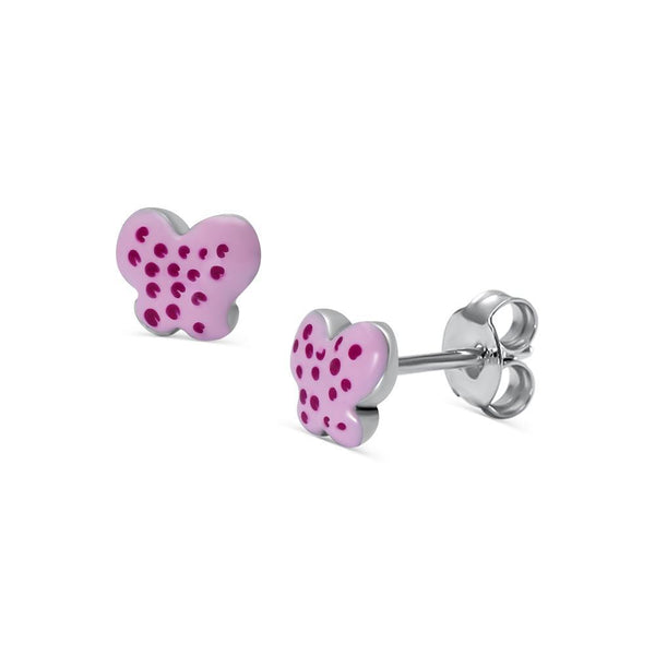 Pretty Pink Polka Dot Butterfly Stud Earrings