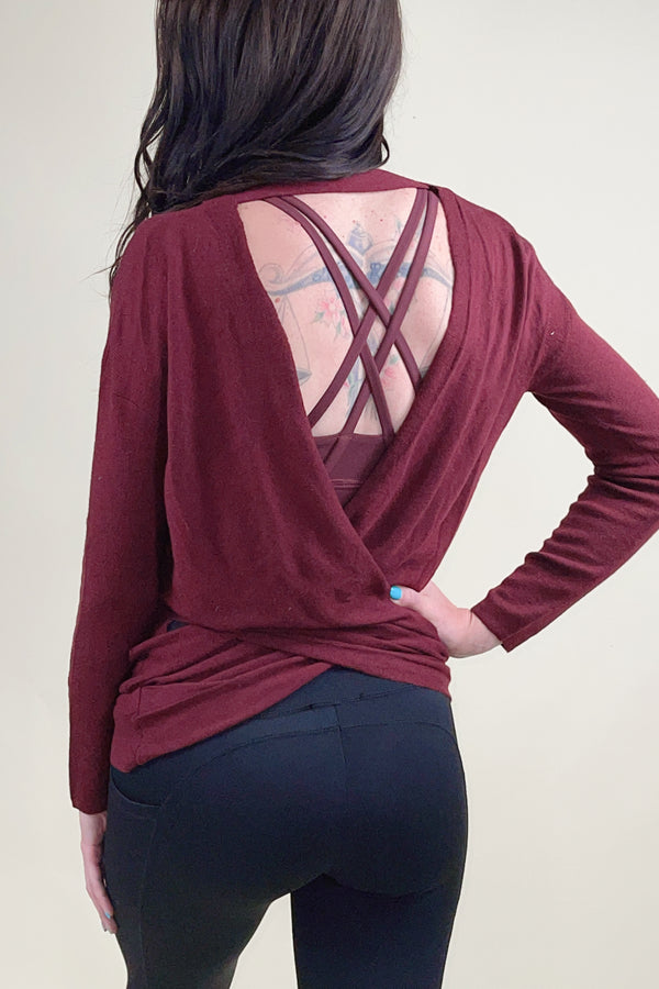 Burgundy Reversible Cross Over Tunic Sweater