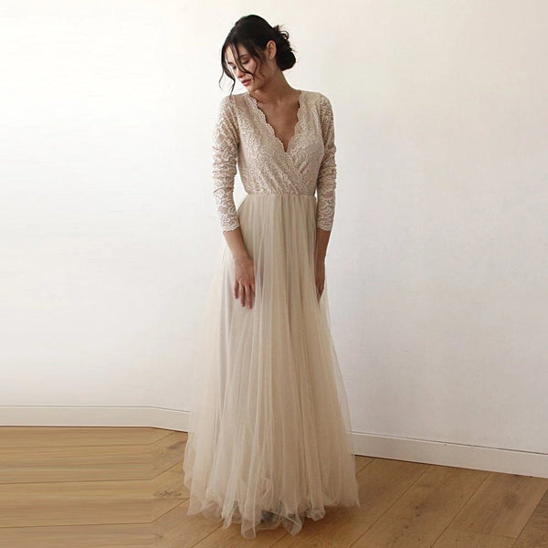 Champagne  Tulle and Lace Long Sleeve Wedding Maxi Dress 1125