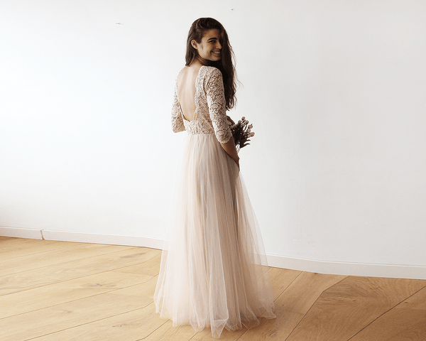 Champagne Tulle and Lace Open Back Gown, Lace Backless and Tulle Gown 1122