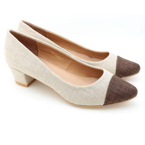 Two Tone Pointed Toe Pumps (Brown)