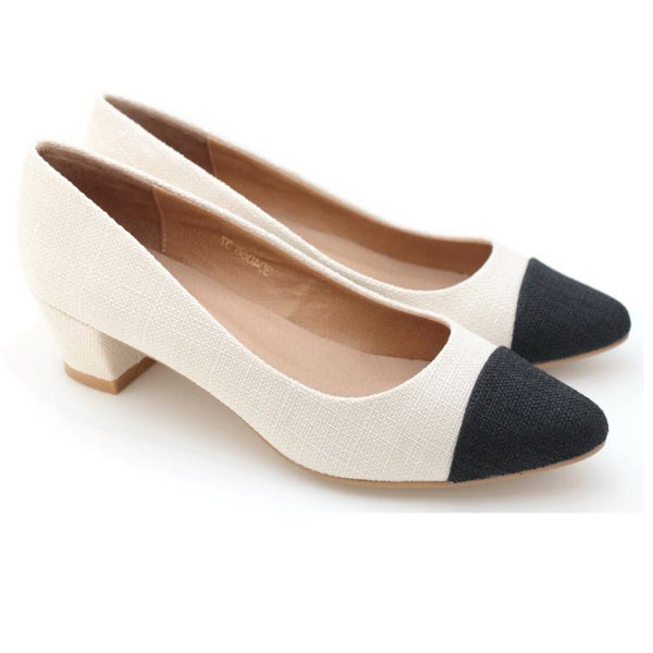 Two Tone Pointed Toe Pumps (Ivory)