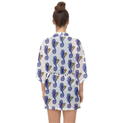 Seahorses Closed Front Chiffon Kimono Can Be Worn Over the Dress