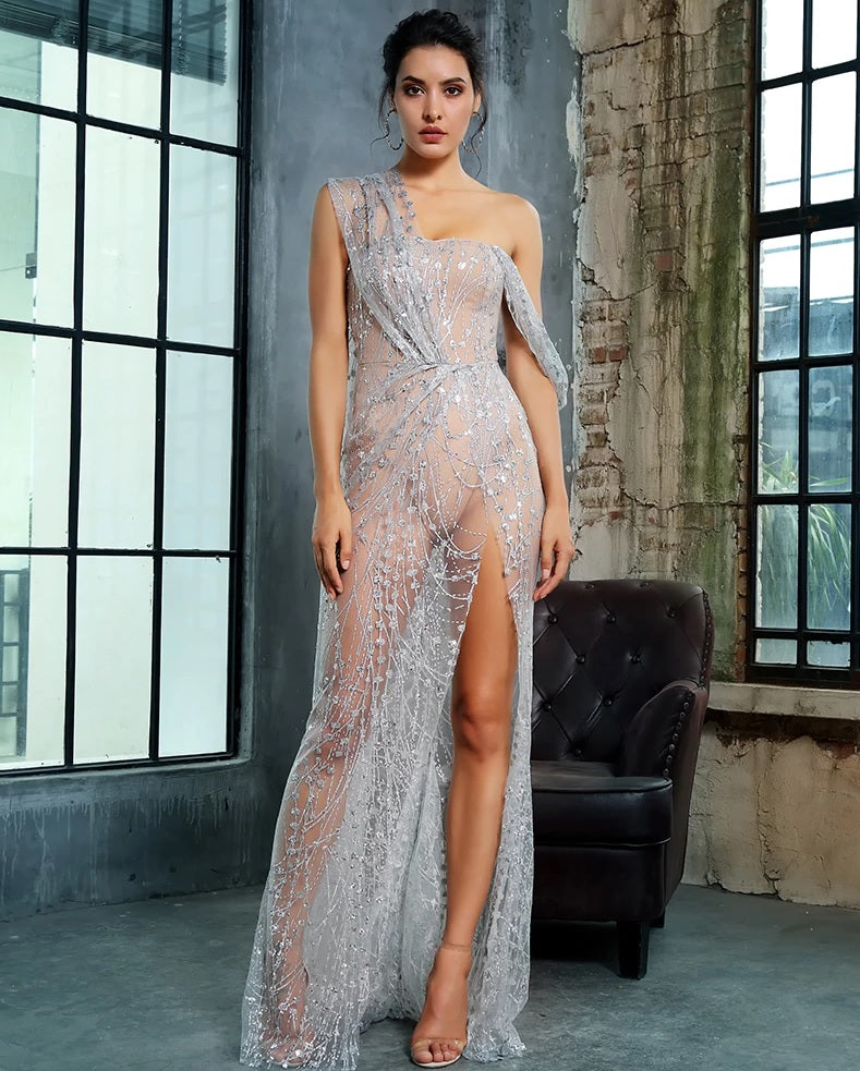 Silver Sequin See Through Gown