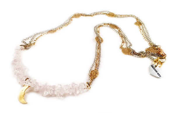 Rose Quartz and 18kt Gold Plated Choker Necklace With Moon Charm.