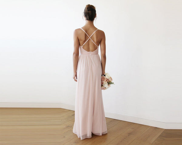 Chiffon Maxi Wrap With Thin Straps - Light Pink Maxi Dress With Adjustable Straps 1170