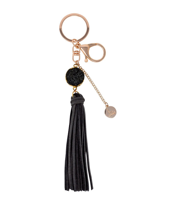 Laconic Style Coruscate Druzy Stone With Suede Tassel Keychain – Gray
