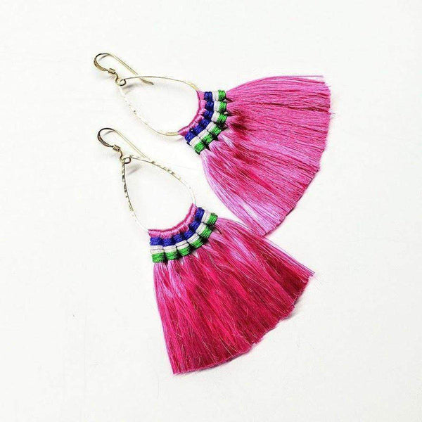 Bright Color Fan Tassel Hoop Earrings