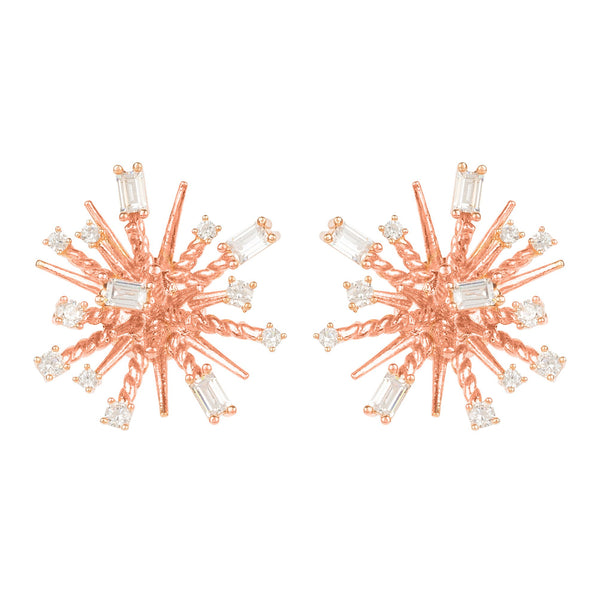 Cosmic Bang Baguette CZ Stud Earring Rose Gold