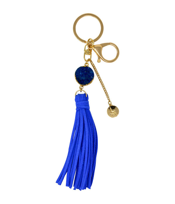 Laconic Style Coruscate Druzy Stone With Suede Tassel Keychain – Dark Blue