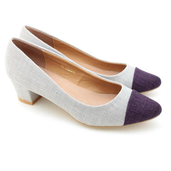Two Tone Pointed Toe Pumps (D.purple)