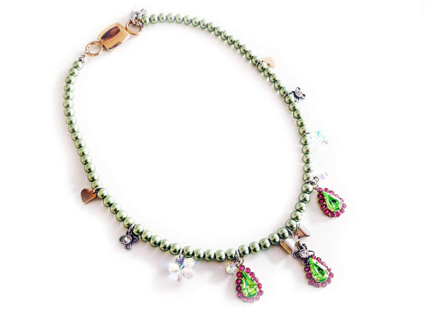 Beaded Necklace With Pink & Green Swarovski Crystals