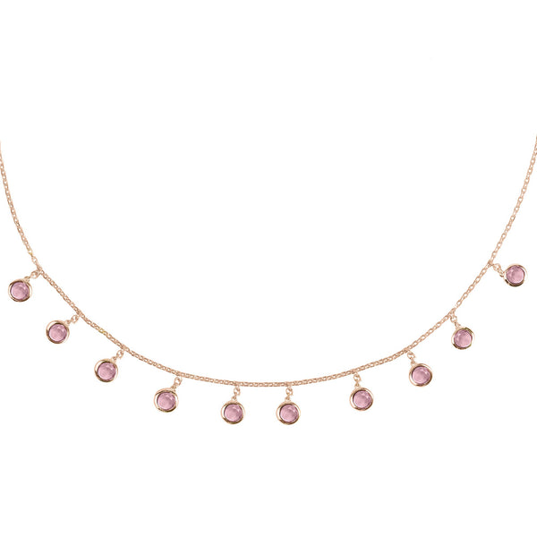 Florence Round Gemstone Necklace Rosegold Pink Tourmaline
