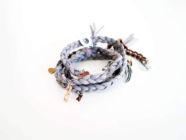 Dust Wraparound Bracelet in Deerskin Leather With Charms