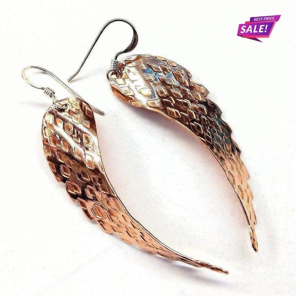 Copper Hammer Pattern Sculpted Angel Wings Earrings